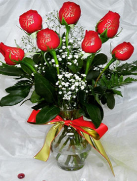 6 Red Roses I Love You Bouquet For Couples . I Love Will Be Engraved With Golden Color On Each Rose