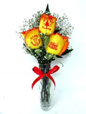 3 Rose Happy Birthday Yellow Roses with Red Tips