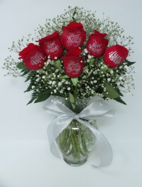 Happy Holidays - 6 Red Roses Engraved with Silver Ink