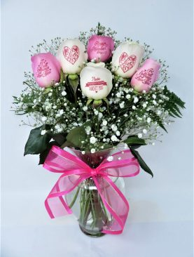 Happy Valentine's Day - 3 Pink & 3 White Roses with Pink Ink
