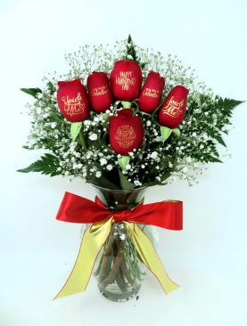 Happy Valentine's Day - 6 Red Roses with Gold Ink