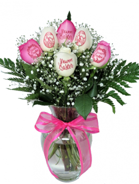 6 Easter Roses - 3 Pink Roses and 3 White Roses with Pink Ink