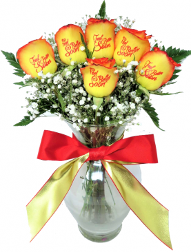 6 Red and Yellow Roses- Feel Better Soon with Red Ink