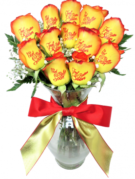 12 Red and Yellow Roses - Feel Better Soon with Red Ink