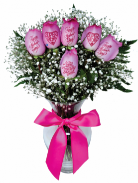 6 Pink Roses - Mother's Day Bouquet with Pink Ink